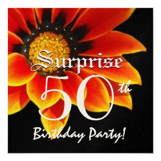 SURPRISE 50th Birthday Party Orange Flower W060 Card