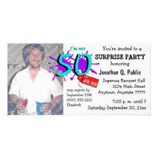 Surprise 50th Birthday Party Photo Invitation Personalized Photo Card