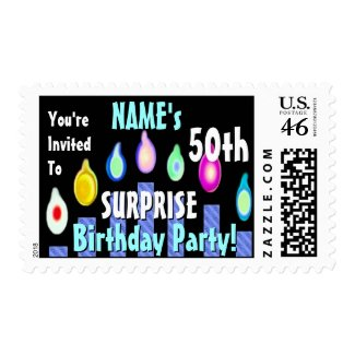 SURPRISE 50th Birthday Party Stamp BLUE stamp