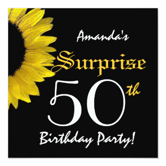 "SURPRISE 50th Birthday Party Yellow Sunflower G301 5.25"" Square Invitation Card"