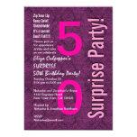 "SURPRISE 50th Birthday Purple B401 5"" X 7"" Invitation Card"