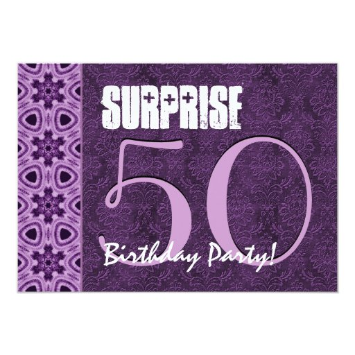 surprise 50th birthday purple lacetemplate 01 card zazzle. Black Bedroom Furniture Sets. Home Design Ideas