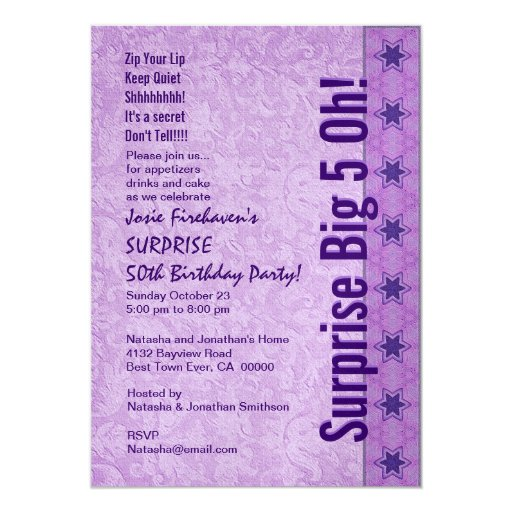 SURPRISE 50th Birthday Purple Stars W167 Card