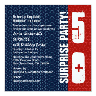 SURPRISE 50th Birthday Red White Blue Stars Card