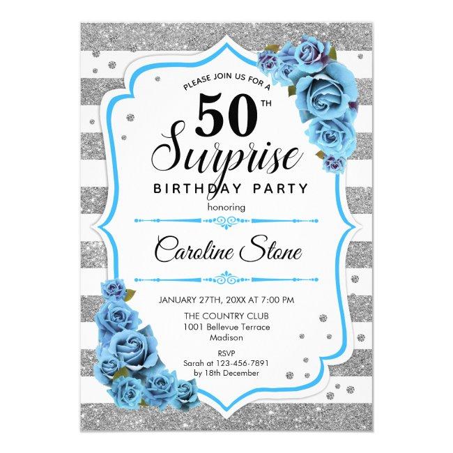 Surprise 50th Birthday - Silver White Blue Invitation