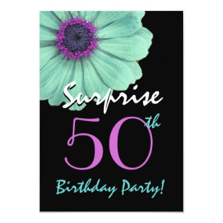 Surprise 50th Birthday Turquoise and Purple Daisy 5x7 Paper Invitation Card