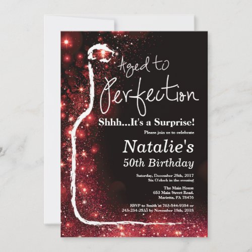 Surprise 50th Birthday Wine Aged to Perfection Red Invitation