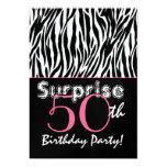 "SURPRISE 50th Birthday Zebra Stripes Black White 5"" X 7"" Invitation Card"