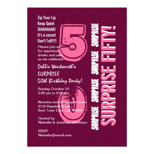 SURPRISE 50th Modern Birthday Pink Burgundy Wine Personalized Invite