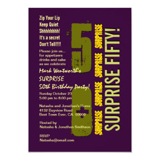 "SURPRISE 50th Modern Birthday PUrple Olive Gold 5"" X 7"" Invitation Card"