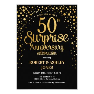 Surprise 50th Wedding Anniversary - Black & Gold Invitation