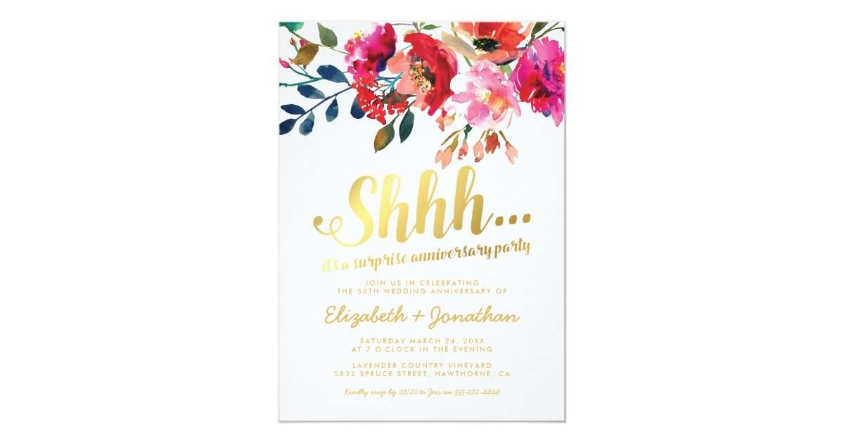 Surprise Wedding Anniversary Invitations: Surprise 50th Wedding Anniversary Elegant Floral