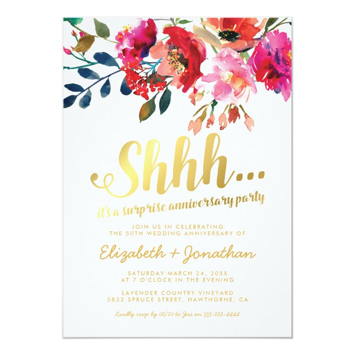 Surprise 50th Wedding Anniversary Elegant Floral Invitation Zazzle Com