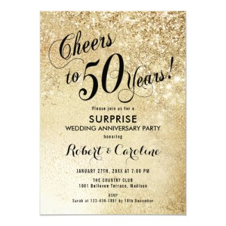 Surprise 50th Wedding Anniversary - Gold Invitation