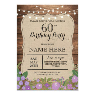 60th birthday party invitations announcements zazzle surprise 60th any age birthday party wood invite filmwisefo Choice Image