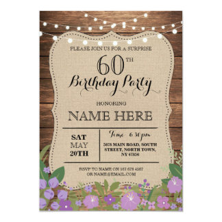 60th birthday party invitations 4700 60th birthday party surprise 60th amp any age birthday party wood invite stopboris Choice Image