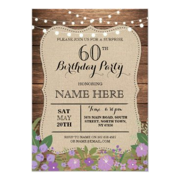 birthday SURPRISE 60th & Any Age Birthday Party Wood Invite