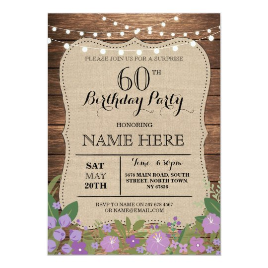 Surprise 60th any age birthday party wood invite zazzle surprise 60th any age birthday party wood invite filmwisefo