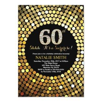 Surprise 60th Birthday Black and Gold Glitter Invitation