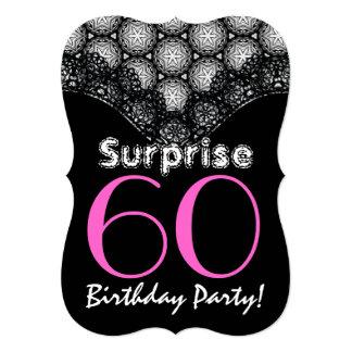SURPRISE 60th Birthday Black and Magenta Stars V01 Card