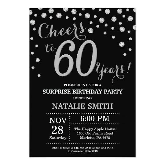 Surprise 60th Birthday Black And Silver Diamond Invitation