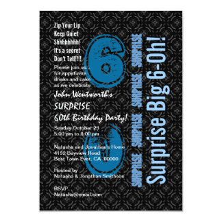 SURPRISE 60th Birthday Black and White Blue W1754 Invitation