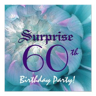 SURPRISE 60th Birthday Blue and Purple Dahlia W076 Card