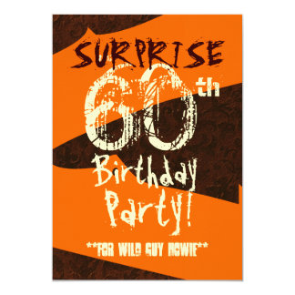 SURPRISE 60th Birthday Brown Ivory Orange C733 Card