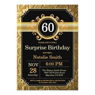 Surprise 60th Birthday Invitation Black and Gold
