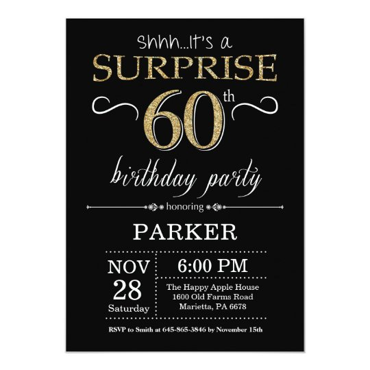 Surprise 60th Birthday Invitation Black And Gold Zazzle Com