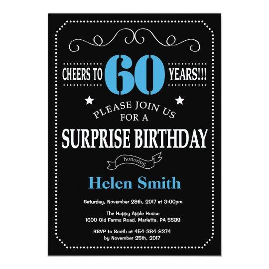Surprise 60th Birthday Invitation Blue And Black