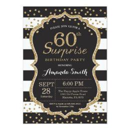 Surprise 60th Birthday Invitation. Gold Glitter Card