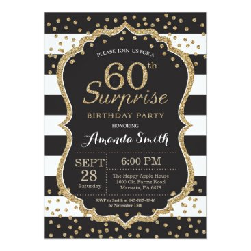 Happyappleshop Surprise 60th Birthday Invitation. Gold Glitter Card