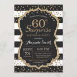 """Surprise 60th Birthday Invitation. Gold Glitter Invitation<br><div class=""""desc"""">Surprise 60th Birthday Invitation for women or man. Black and Gold Birthday Party Invite. Gold Glitter Confetti. Black and White Stripes. Printable Digital. For further customization,  please click the """"Customize it"""" button and use our design tool to modify this template.</div>"""