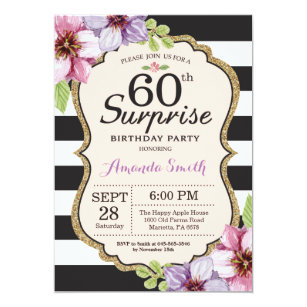 Surprise 60th birthday invitations announcements zazzle surprise 60th birthday invitation women floral filmwisefo