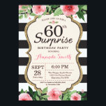 "Surprise 60th Birthday Invitation Women Floral<br><div class=""desc"">Surprise 60th Birthday Invitation for women. Black and Gold Birthday Party Invite. Gold Glitter. Pink Watercolor Floral Flower. Black and White Stripes. Printable Digital. For further customization,  please click the ""Customize it"" button and use our design tool to modify this template.</div>"