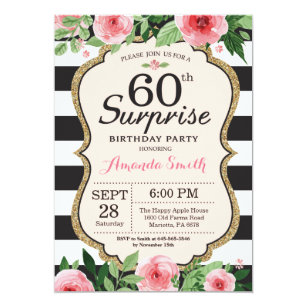 Black White 60th Birthday Invitations Zazzle