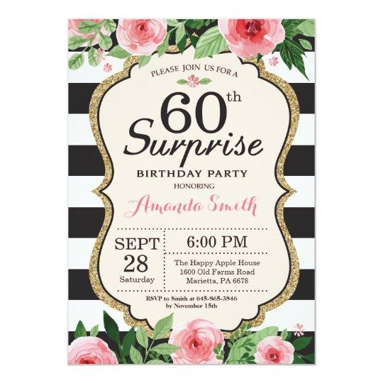 Surprise 60th Birthday Invitation Women Fl
