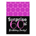 SURPRISE 60th Birthday Magenta Stars Personalized Announcement