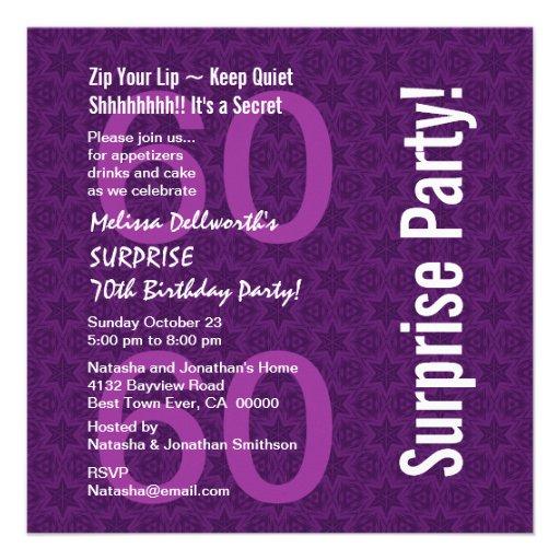 SURPRISE 60th Birthday Modern Purple White Y093 Announcement