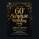 "Surprise 60th Birthday Party - Black & Gold Invitation<br><div class=""desc"">Surprise 60th Birthday Party Invitation.