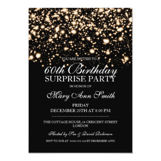 Surprise 60th Birthday Party Gold Midnight Glam Card