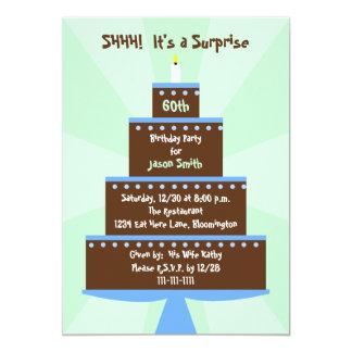 "Surprise 60th Birthday Party Invitation -- Cake 5"" X 7"" Invitation Card"