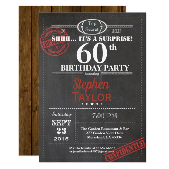 Surprise 60th birthday party invitation for men zazzle surprise 60th birthday party invitation for men filmwisefo