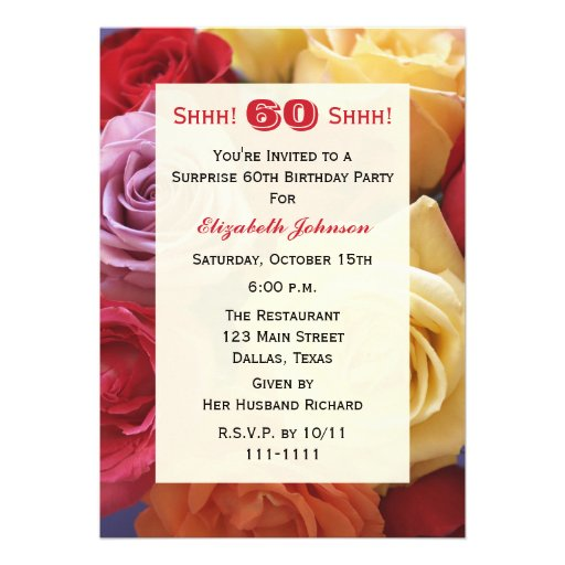 Surprise 60th Birthday Party Invitation, Roses Personalized Invites