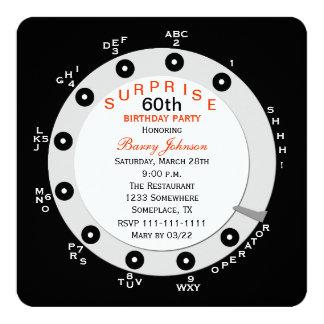 "Surprise 60th Birthday Party Invitation Rotary 5.25"" Square Invitation Card"