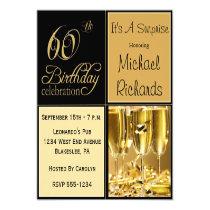 """Surprise 60th Birthday Party Invitations 5.25"""" Square Invitation Card"""