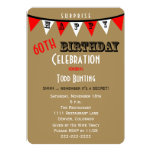 "Surprise 60th Birthday Party Invitations Bunting 5"" X 7"" Invitation Card"