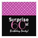 SURPRISE 60th Birthday Party Pink Flowers Invitations