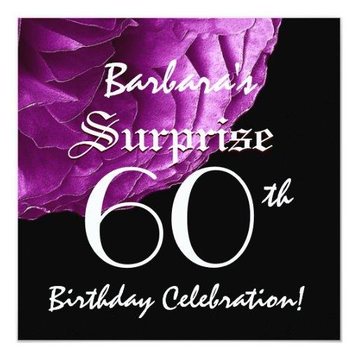 SURPRISE 60th Birthday Party Purple Rose W066 Invitation